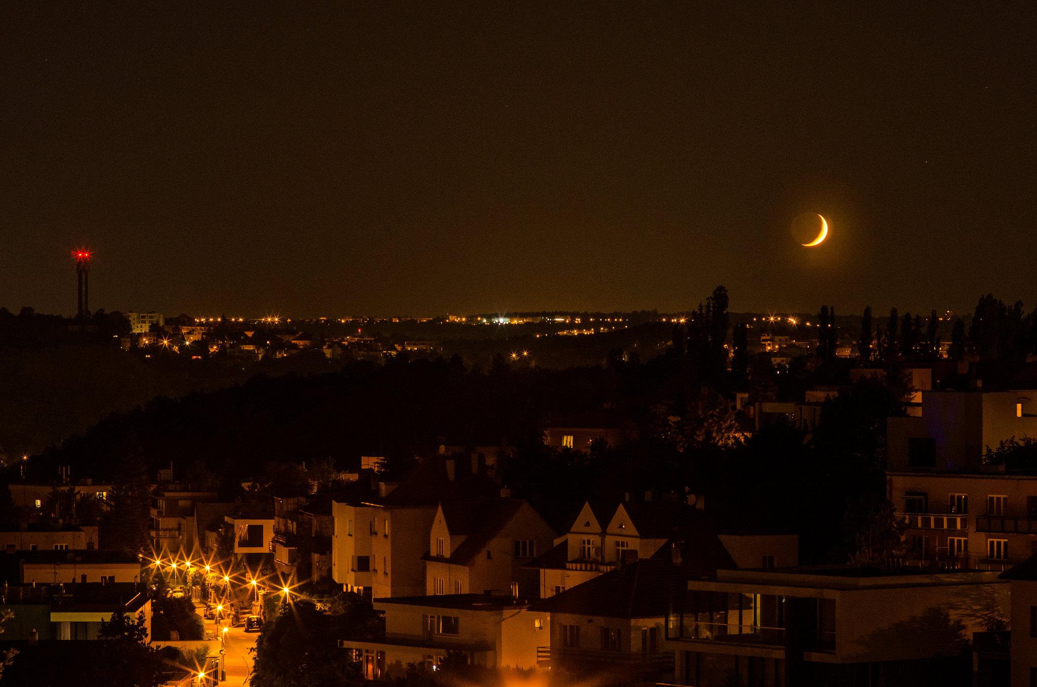 Moonset over Prague