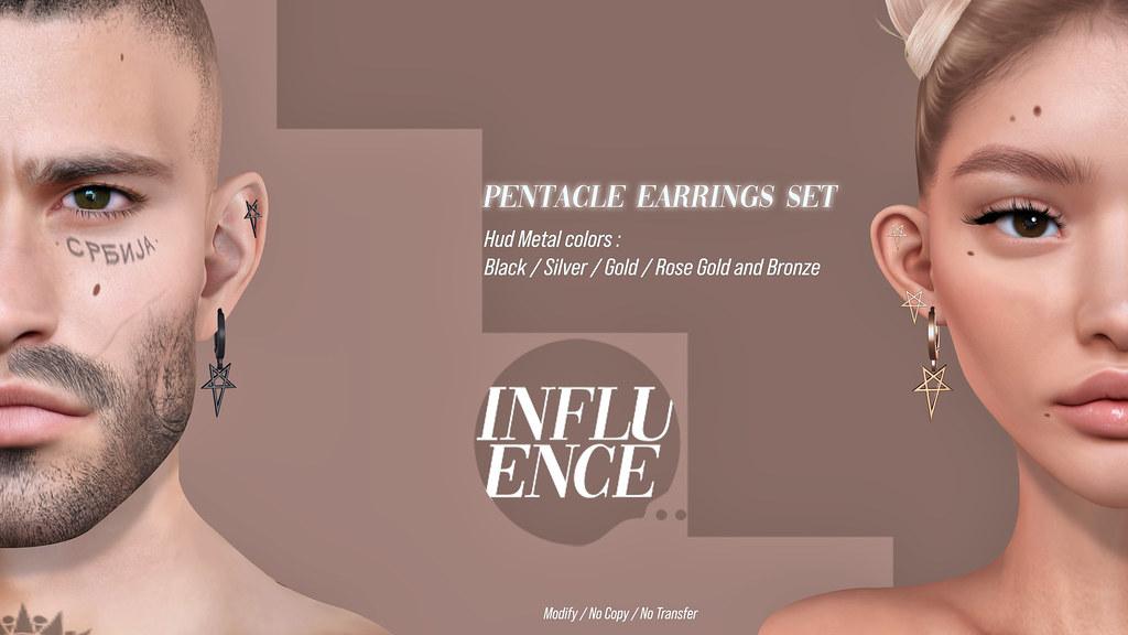 -Influence-Pentacle Earrings Set