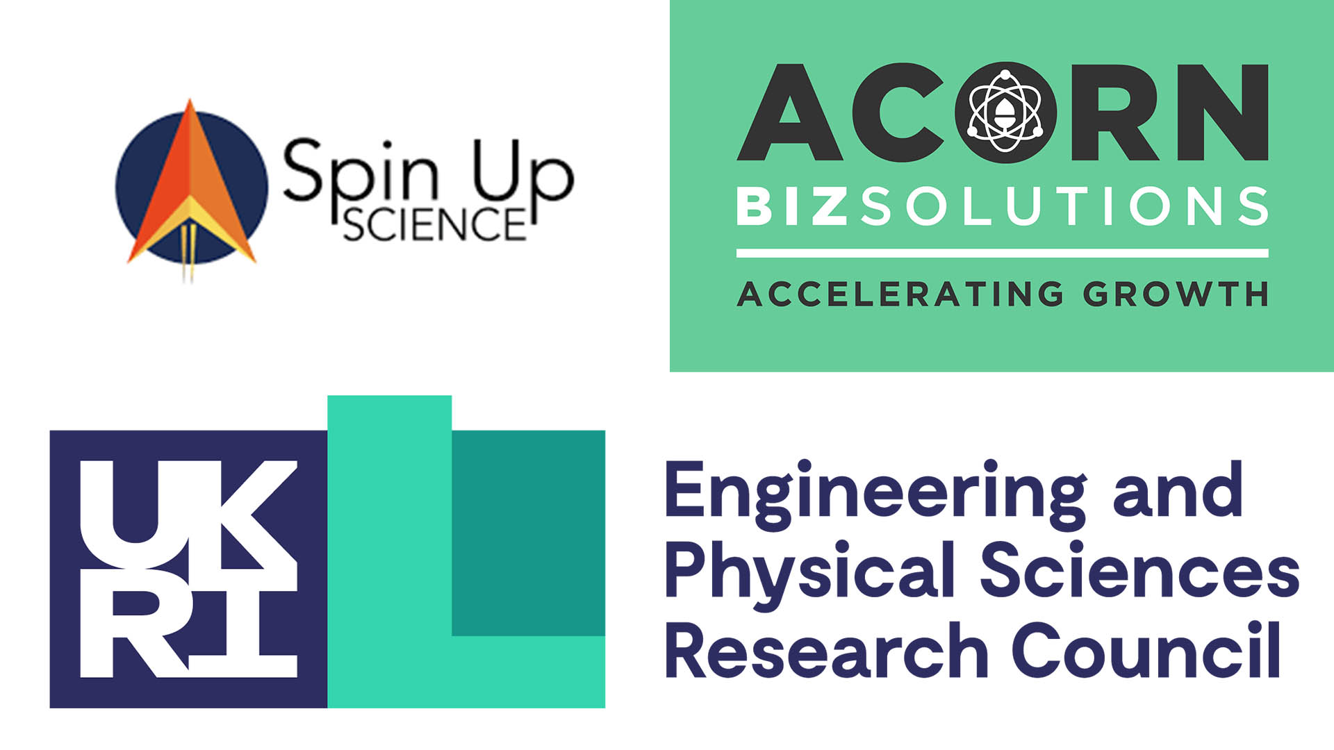 Logos for series funders; spin up science, acorn biz  solutions and engineering and physical sciences research council (UKRI)