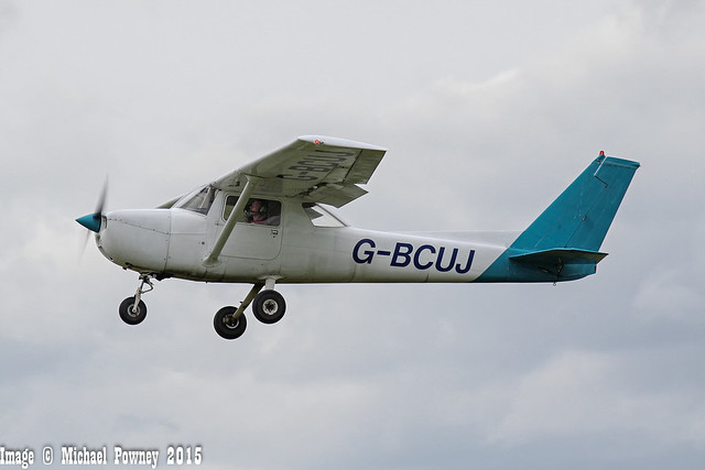 G-BCUJ - 1974 Reims built Cessna F150M, departing from Sywell during Aero Expo 2015