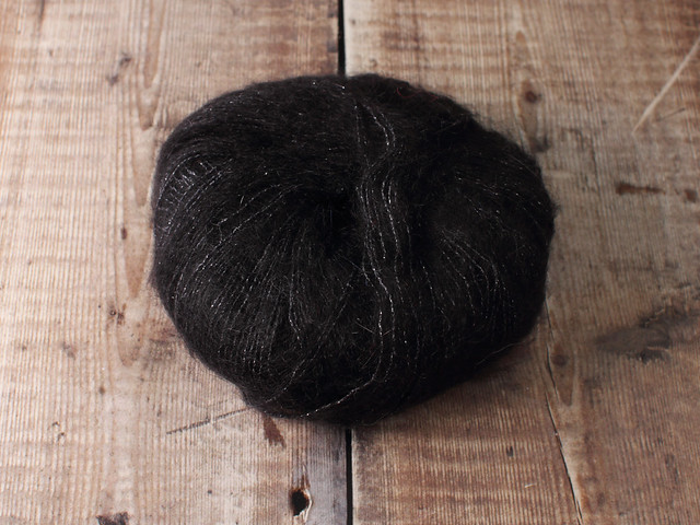 Destash yarn: Debbie Bliss Party Angel kid mohair silk sparkle lace yarn 25g – black