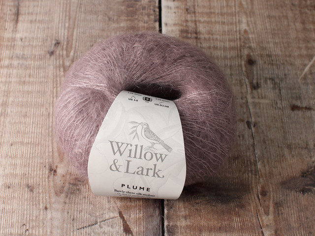 Destash yarn: Willow & Lark Plume kid mohair and mulberry silk 25g – light mauve
