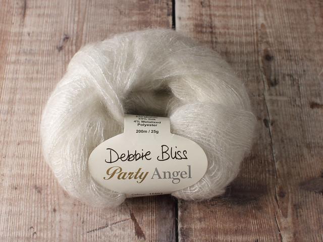 Destash yarn: Debbie Bliss Party Angel kid mohair silk sparkle lace yarn 25g – white