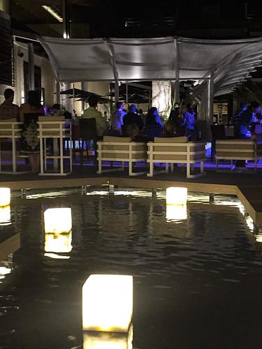 Pool side entertainment area at night, Royalton Riviera Cancun Resort & Spa, Mexico