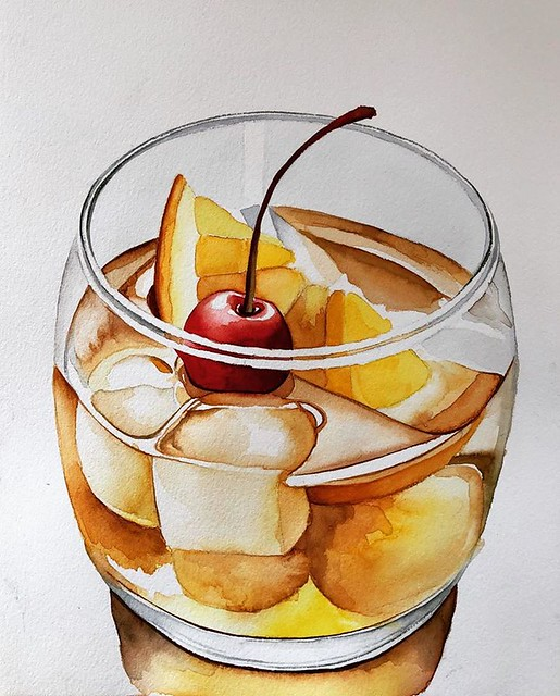 Still Life Watercolor Painting Juice