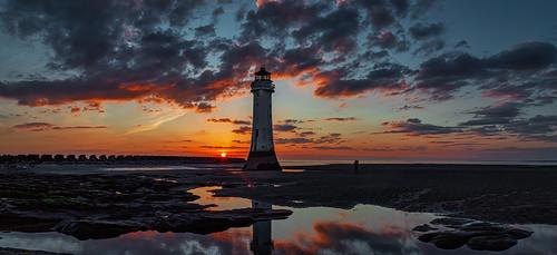 merseyside england unitedkingdom lighthouse seascape sunset landscape newbrighton