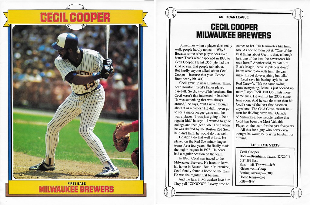 1984 Baseball Superstars Album Poster - Cooper, Cecil