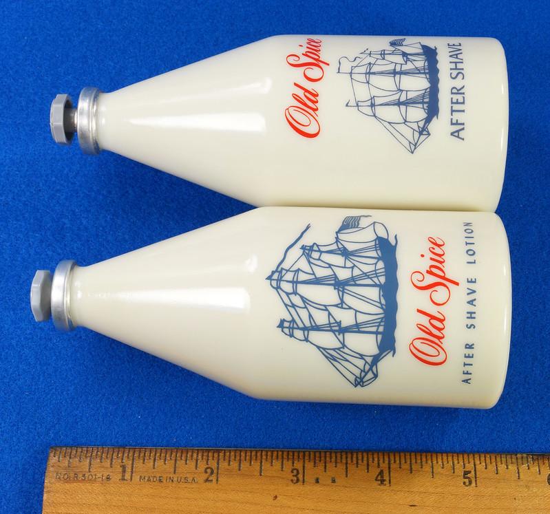 RD24923 2 Old Spice After Shave Bottles Shulton 1950