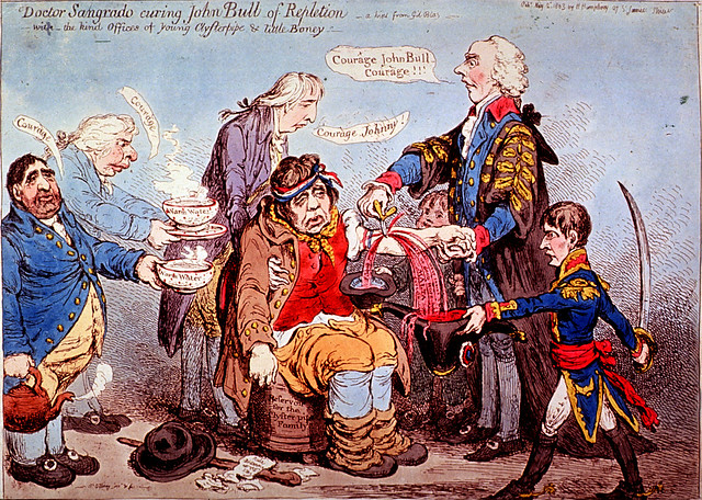 Doctor Sangrado curing John Bull of Repletion: with the kind offices of young Clysterpipe & little Boney