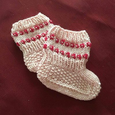 Sandi's baby booties test knit are super cute