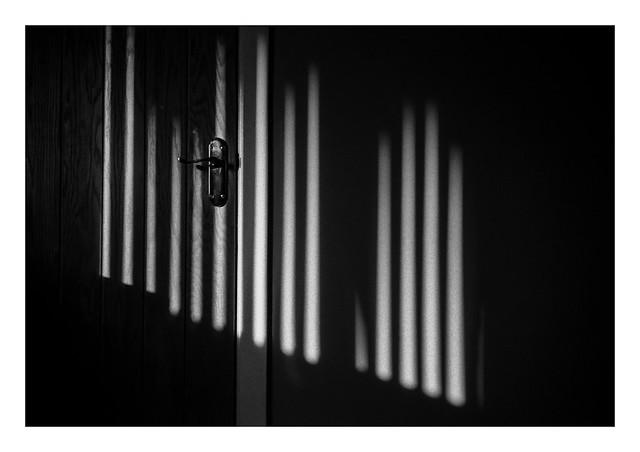 Sunlight on the closet door