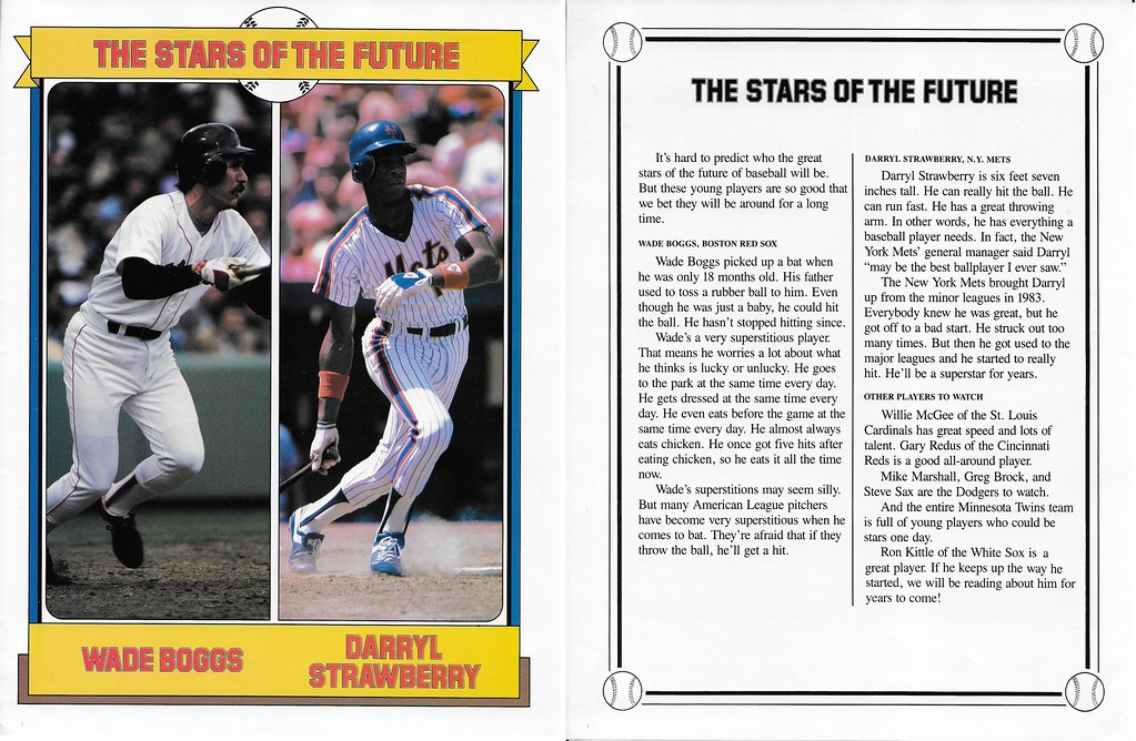 1984 Baseball Superstars Album Poster - Boggs and Strawberry