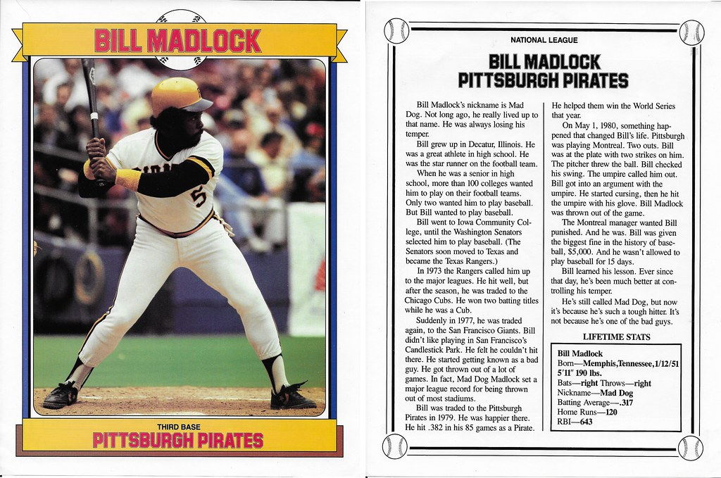 1984 Baseball Superstars Album Poster - Madlock, Bill