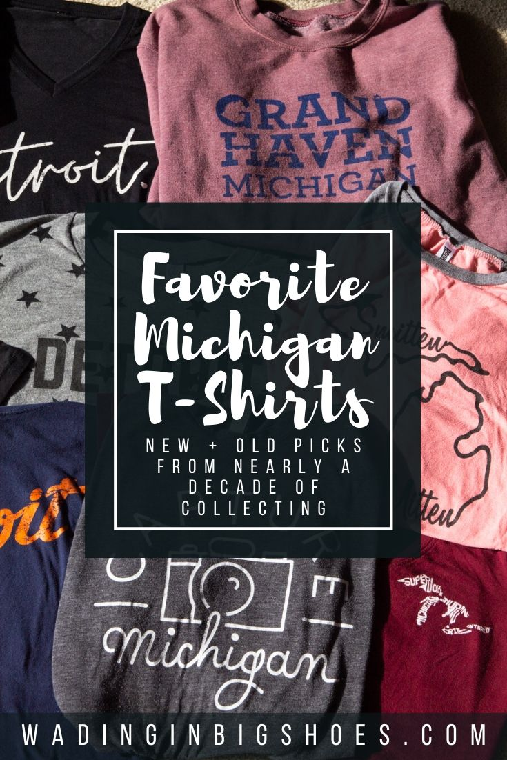 Wading in Big Shoes - My (Mostly Detroit) Michigan T-Shirt Collection // Sharing a look inside my Michigan t-shirt collection! Detroit tees, Up North sweatshirts, and more--see photos and find where to get these looks here.