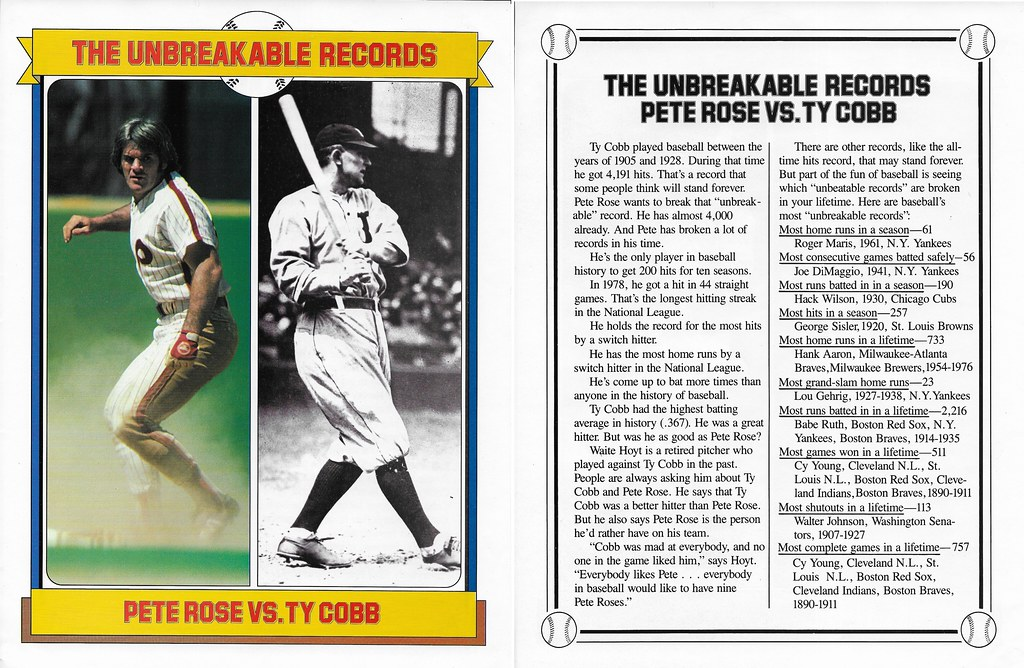 1984 Baseball Superstars Album Poster - Rose, Pete and Ty Cobb