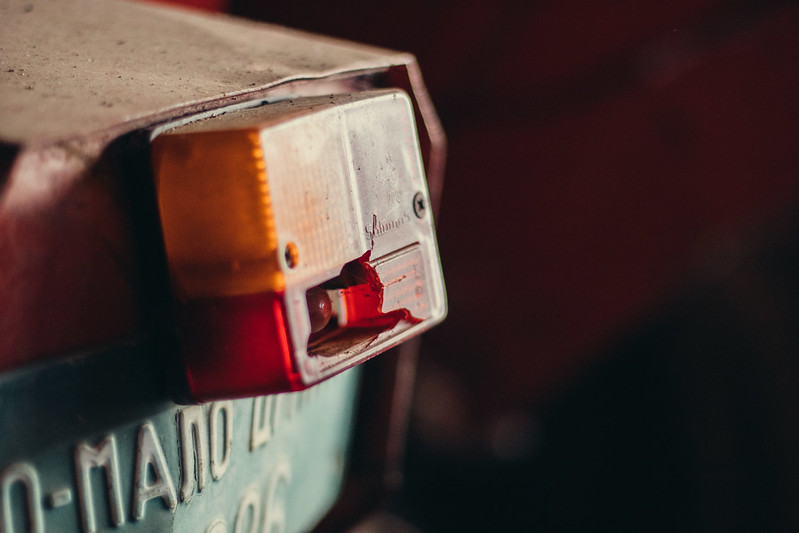 Broken tail light on an old tractor