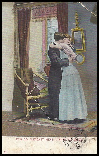 c. 1908 Philadelphia Postal Card Company Postcard - Lovers - It's So Pleasant Here - I Hate to Leave!