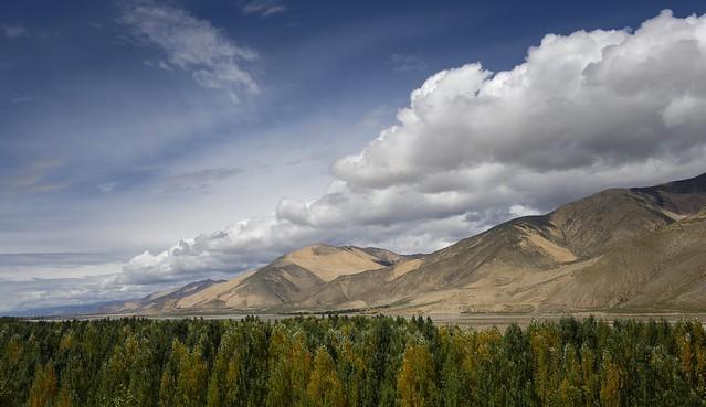 Landscape of Shigatse county, Tibet 2019