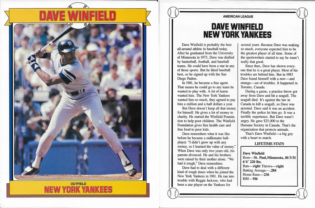 1984 Baseball Superstars Album Poster - Winfield, Dave