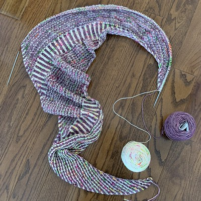 Still not a long way to go on my Bresthe and Hope Shawl by Casapinka
