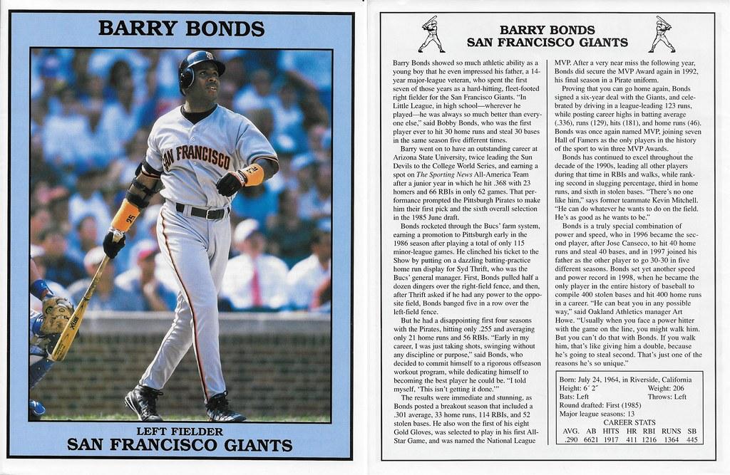 1999 East End Publishing Baseball Superstars Posters - Bonds, Barry