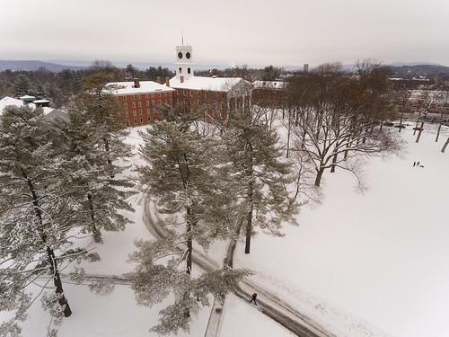 Aerials of Campus in Snow