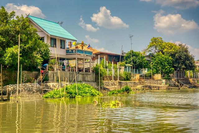 The Chao Phraya river around the old city center of Ayutthaya, Thailand