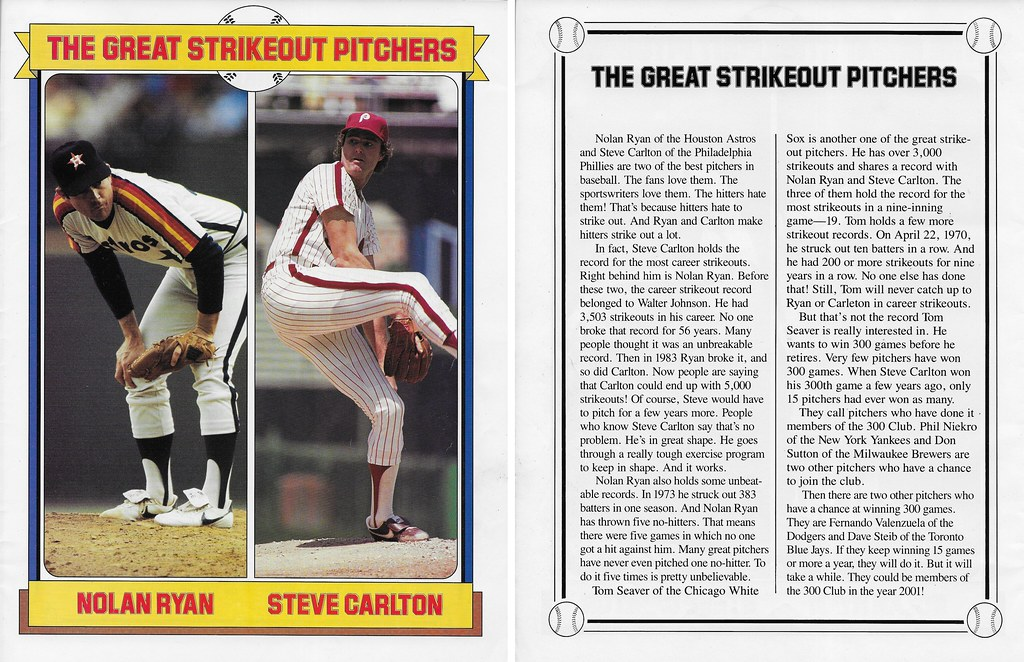 1985 Baseball Superstars Album Posters - Ryan, Nolan and Carlton