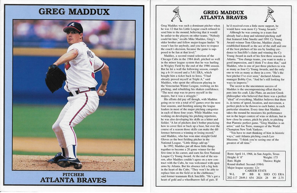 1999 East End Publishing Baseball Superstars Posters - Maddux, Greg