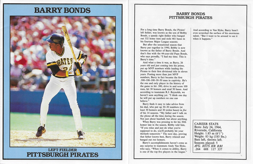 1991 East End Publishing Baseball Superstars Album - Bonds, Barry