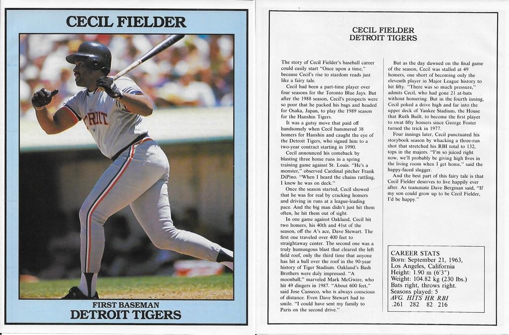 1991 East End Publishing Baseball Superstars Album - Fielder, Cecil