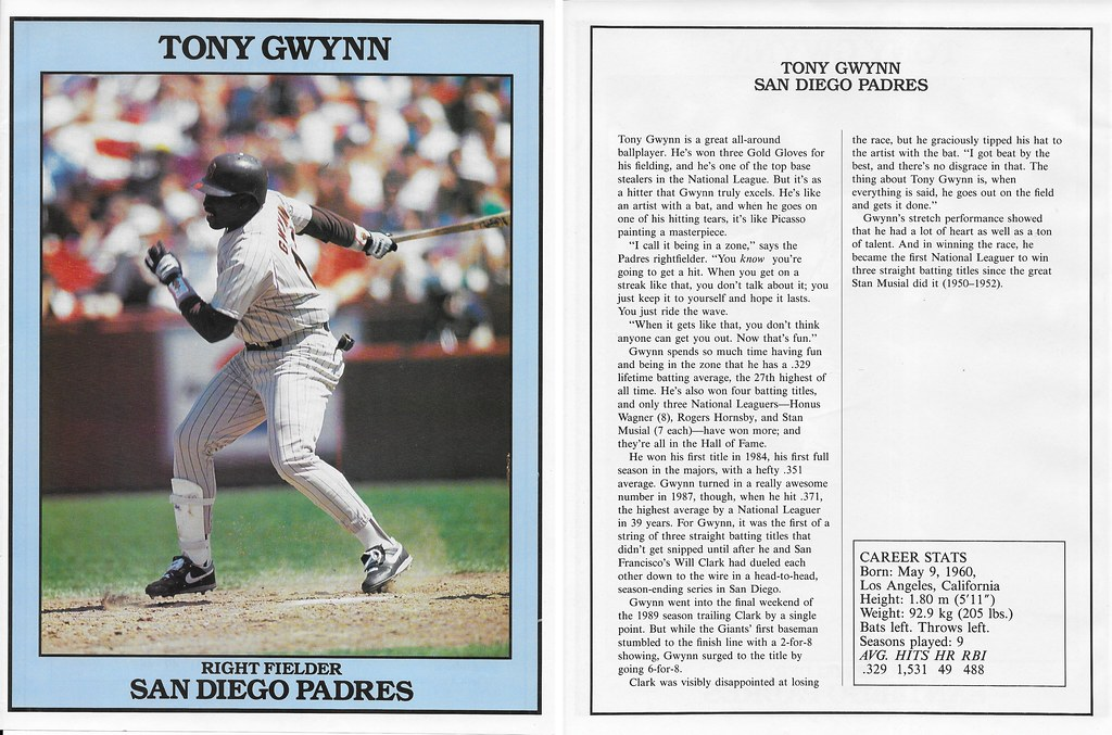 1991 East End Publishing Baseball Superstars Album - Gwynn, Tony