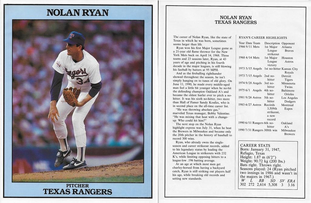 1991 East End Publishing Baseball Superstars Album - Ryan, Nolan