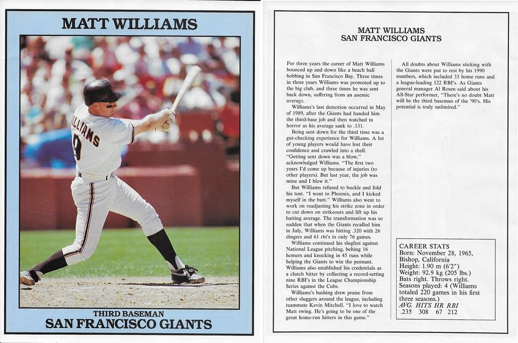 1991 East End Publishing Baseball Superstars Album - Williams, Matt