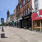 Almost empty high street at Preston