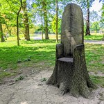 Wooden throne in Hurst Grange Park