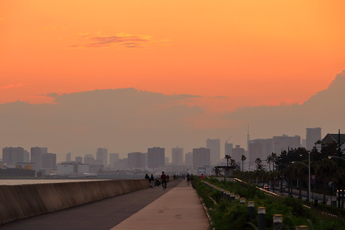 sunset sky cloud clouds maihama coast chiba japan tokyo tokyotower tokyobay city