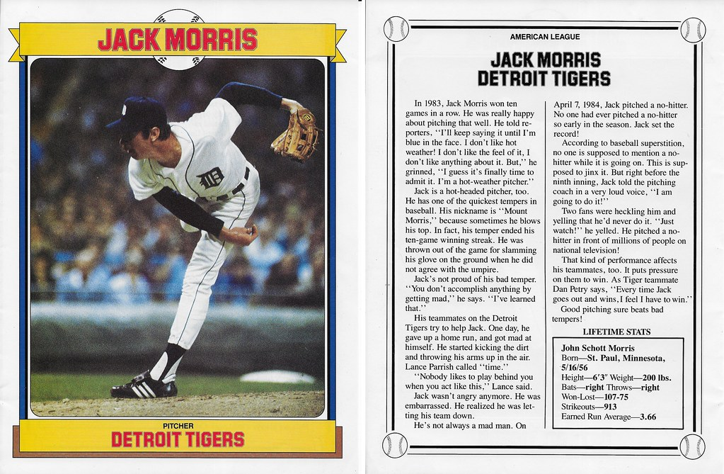 1985 Baseball Superstars Album Posters - Morris, Jack