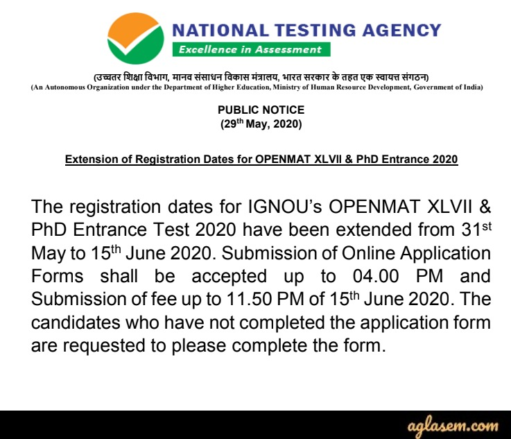 IGNOU MBA 2020 Application Form IGNOU MBA 2020 Application Form (Extended) - Apply for OPENMAT XLVII at ignouexams.nta.nic.in