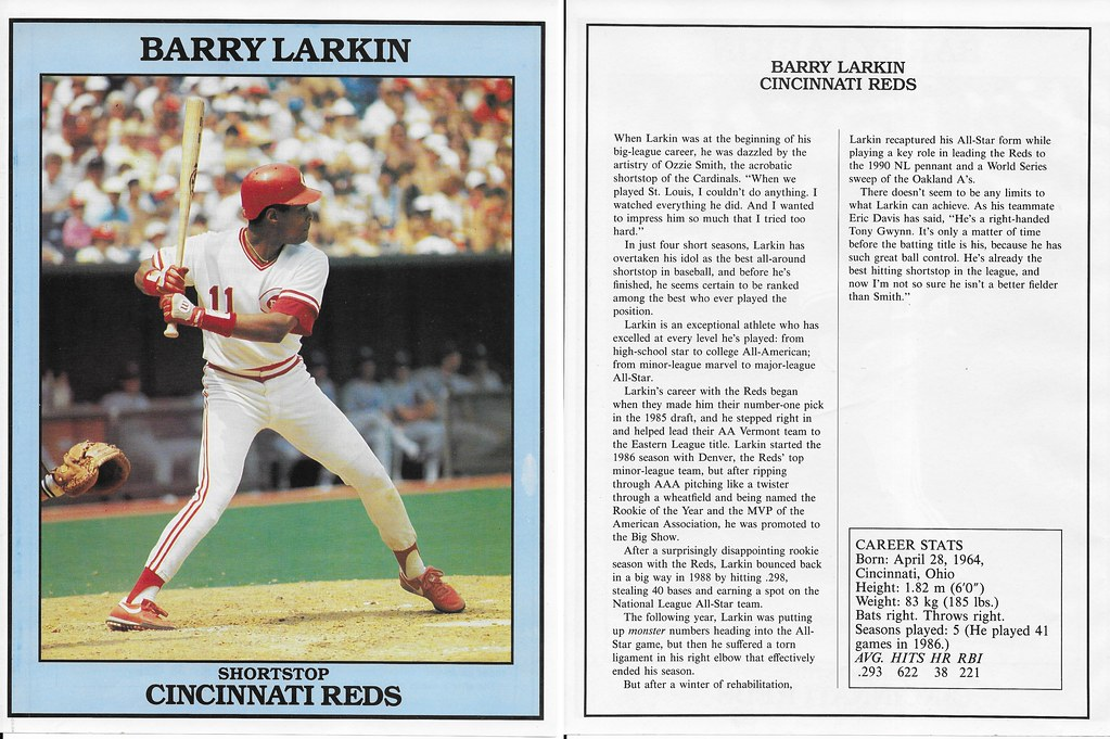 1991 East End Publishing Baseball Superstars Album - Larkin, Barry