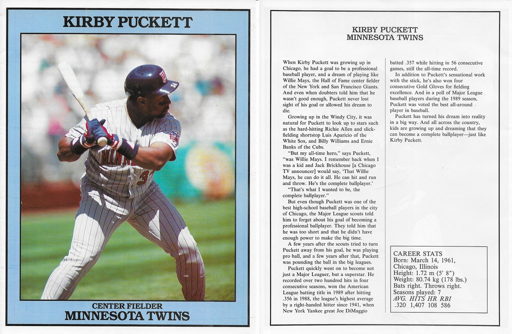 1991 East End Publishing Baseball Superstars Album - Puckett, Kirby