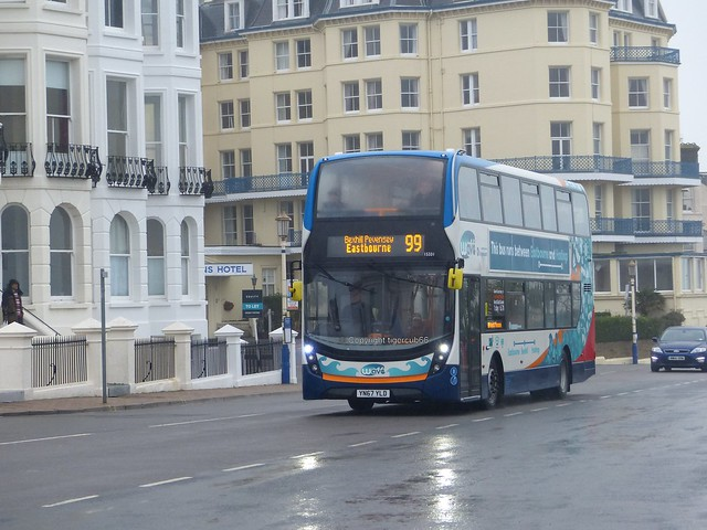Stagecoach  15331 emerges from the sea mist Eastbourne pier. 23.01.2018 009 (1)