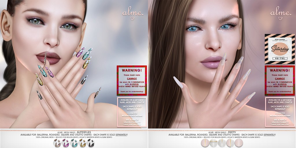 "Alme. for The Saturday Sale ""Alme Mesh Nails// ""Butterflies"" & ""Pretty"" in 4 shapes!"