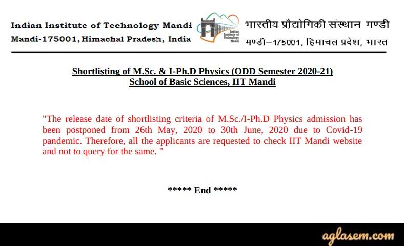 IIT Mandi M.Sc Admission 2020 Latest Announcement