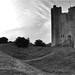 Orford Castle in black and white