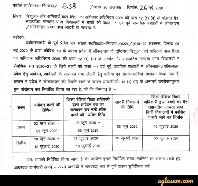 RTE UP Admission 2020 Revised Schedule Notice