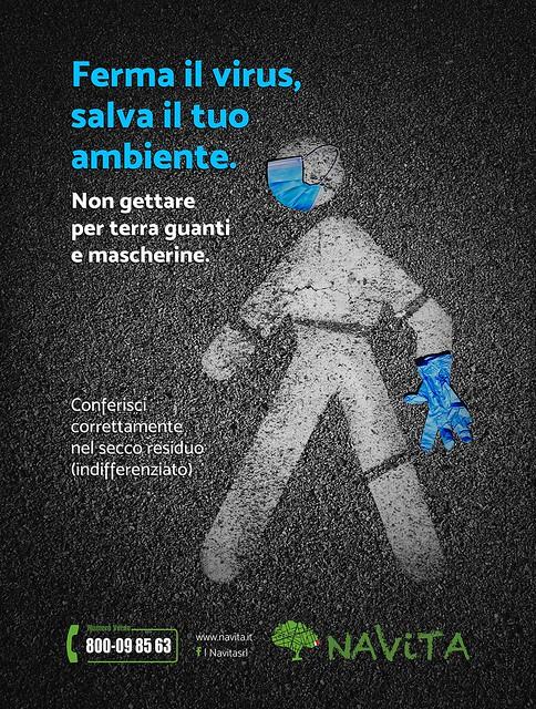 abbandono mascherine e guanti campagna sensibilizzazione navita