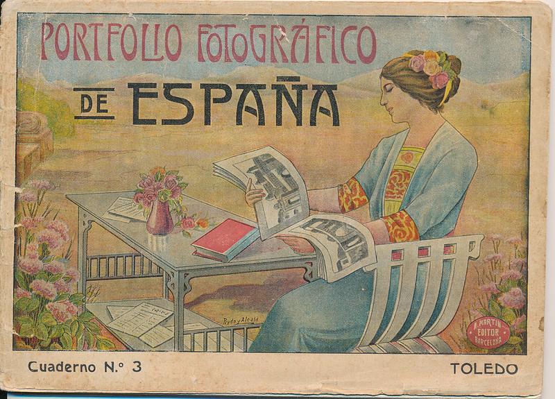 """Portada de """"Portfolio Fotográfico de España (cuaderno nº 3)"""" editado por Alberto Martín a iniciativa de Ceferino Rocafort hacia 1910. Dibujo de Prado y Alcalá."""