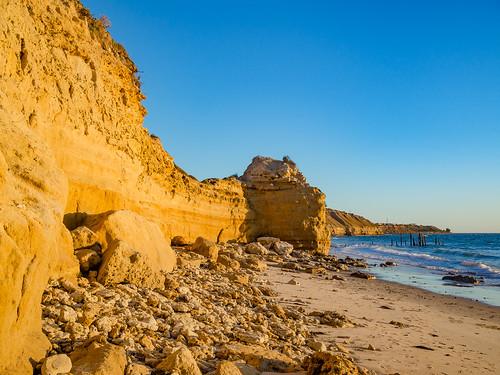 portwillunga willunga adelaide southaustralia sa australia cliff shore outdoor beach sea ocean sand seascape view olympusem10 olympus olympusomd lumix microfourthirds sky afternoon day autumn goldenhour dusk landscape rock