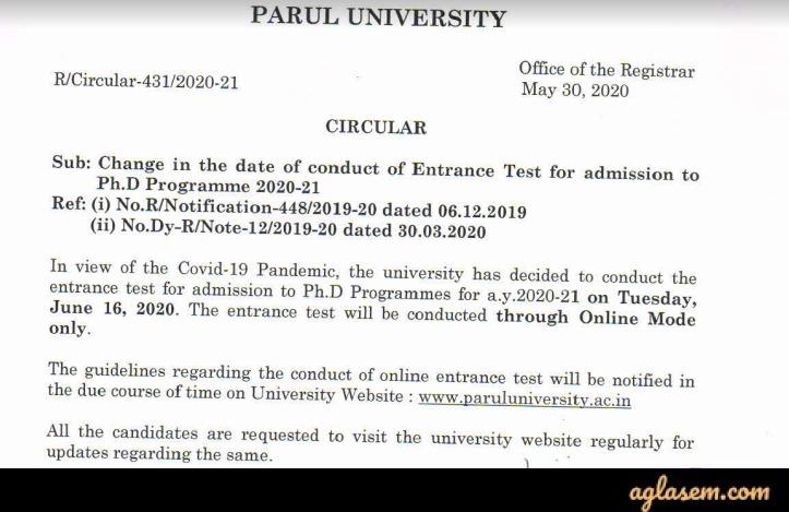 Parul University Admission 2020 Ph.D Entrance Date Revised
